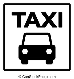 Black and White Taxi Sign - Black Silhouette of Taxi Cab on...