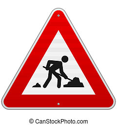Construction Road Sign - Men at Work European sign as...