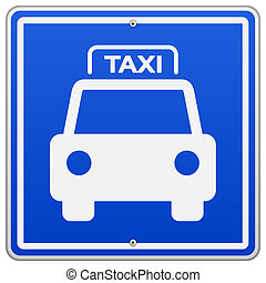 Taxi Blue Sign - Illustration of Taxi Symbol on blue square...