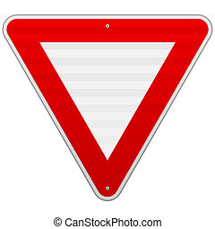Yield Triangle Sign - Road traffic coordination symbol as...