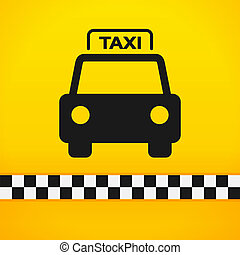 Taxi Cab Symbol on Yellow - Black silhouette of taxi car on...
