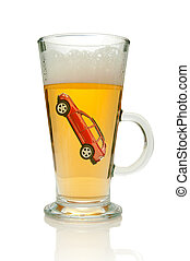 Drink driving - Small vehicle inside a glass of beer