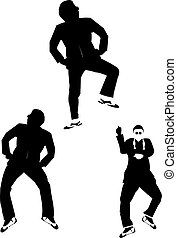 gangnam dancers - silhouette gangnam dancers with classic...