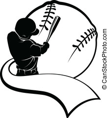 Baseball Batter with Pennant - Vector illustration of a...