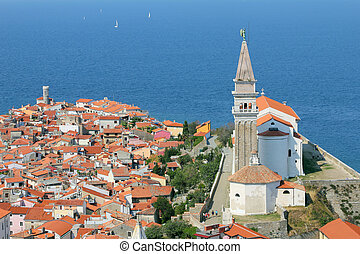 View on the historical city of Piran, Slovenia