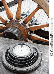 Steering wheel of an ancient sailing vessel