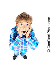 shocked boy - Portrait of a surprised boy Isolated over...