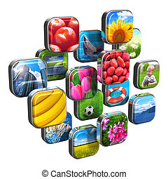 Colorful icons with pictures - Multimedia internet web...