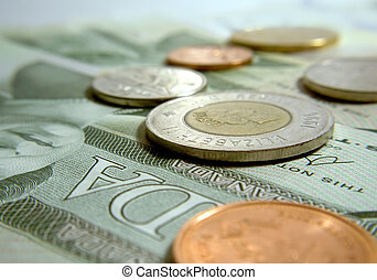 Canadian currency, coins and bills