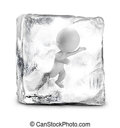 3d small people - frozen - 3d small person frozen in ice. 3d...