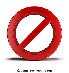 No sign 3d image Isolated white background