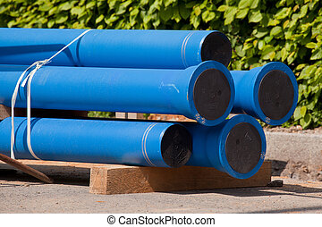 pipes - New blue pipes for water supply