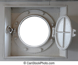Port hole horizontal - Looking through a ship's port-hole at...