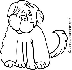 shaggy terrier cartoon for coloring - Cartoon Illustration...