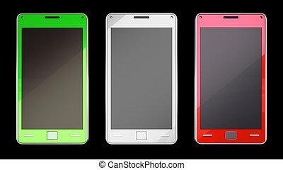 Three smart phones in different colours over black