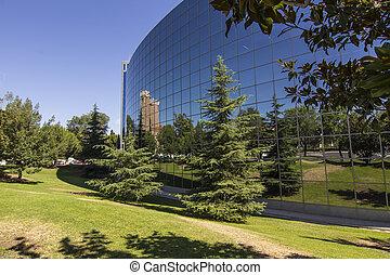 costruzione, vetro, verde, giardini, Futuristico, bello