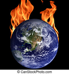 Global warming - Burning globe
