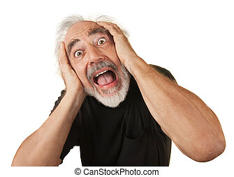 Screaming Older Man - Screaming man covering his ears over...