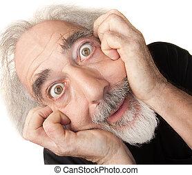 Scared Senior Male - Scared male senior citizen man over...