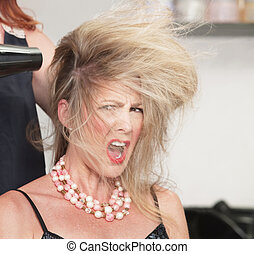 Woman's Hair and Blow Dryer - Picky lady with messy hair and...