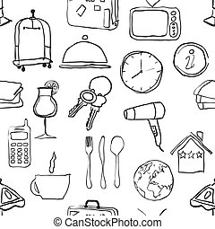 seamless doodle hotel pattern