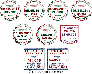 Passport Stamps - Passport stamps from Italy, Malta and...