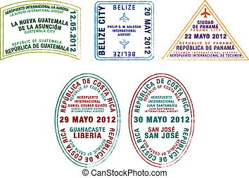 Passport Stamps - Passport stamps of Guatemala, Belize,...