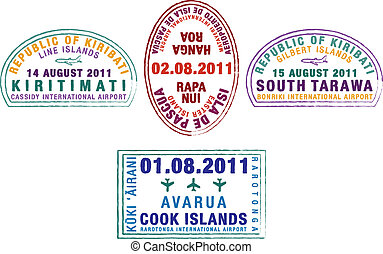 Passport Stamps - Kiribati, Easter Island and the Cook...