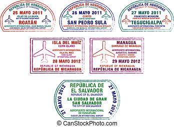 Passport Stamps - Honduras, Nicaragua and El Salvador...