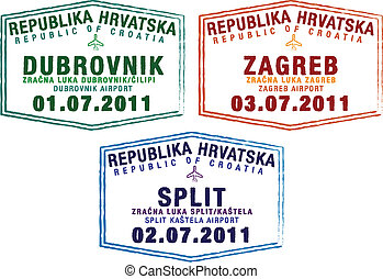 Passport Stamps - Passport stamps from Croatia in vector...