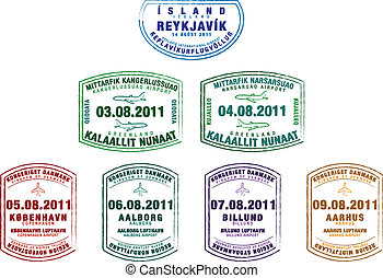 Passport Stamps - Passport stamps from Iceland, Greenland...
