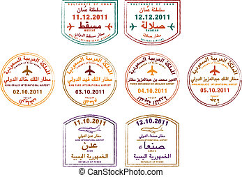 Passport Stamps - Stylized passport stamps of Yemen, Oman...