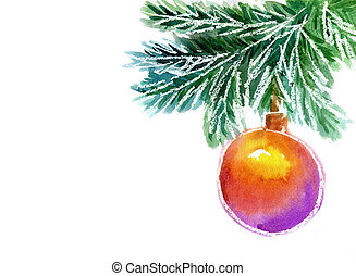 Christmas tree, watercolor painting - Christmas ball hanging...
