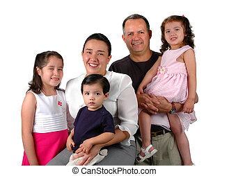 Latin Family - Latin family smiling isolated over a white...