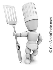 Chef with spatula - 3D render of a chef with a spatula