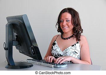 Attractive Customer Service Representative smiling while...