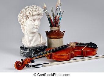 The arts represented by sculpture, music, and painting.
