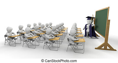 Classroom - 3D render of children in a classroom
