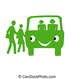 friendly bus - green bus and people on white background...