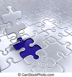 The final piece - 3D render of puzzle pieces with final...
