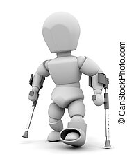 Person on crutches - 3D render of someone on crutches