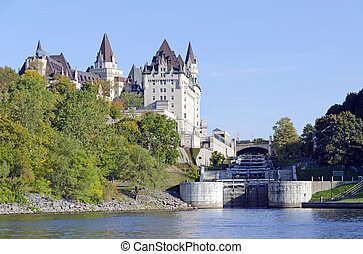 Rideau canal locks - Fairmont Chateau Laurier and Rideau...