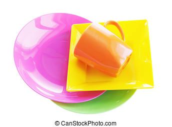 Bright multi colored plastic dishware