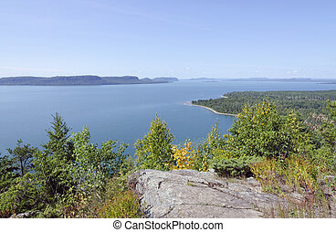 Superior Lake - blue water of Superior Lake, Ontario under...