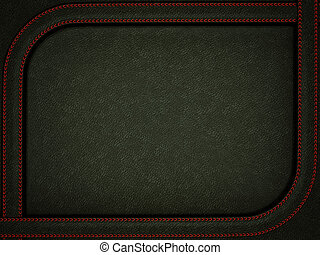Black leather background with stitched red rounded frame