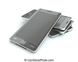 Stack of smart phones with touch screen over white