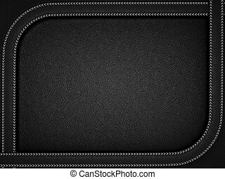 Black leather background with rounded stitched frame