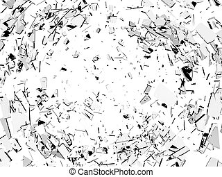 Damage and vandalism: Pieces of broken glass isolated on...