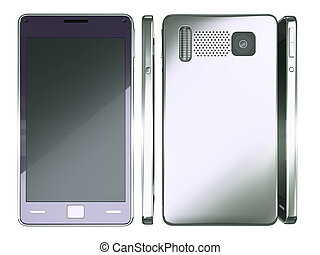 Front, side and rear views of Smart phone isolated