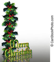 Christmas Holly Border 3D - Image and Illustration...